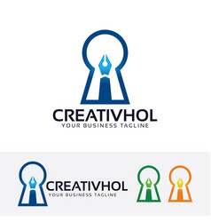 Creative hole logo design vector