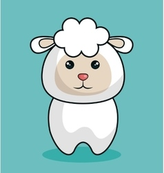 cute sheep stuffed icon vector image vector image