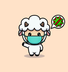 Design cute sheep wearing mask to prevention vector