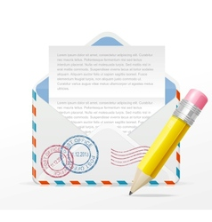 detailed envelope and pencil vector image