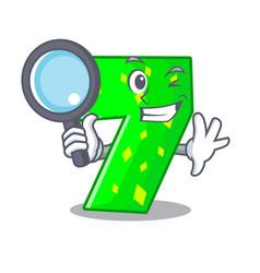 Detective number seven sign on door cartoon vector