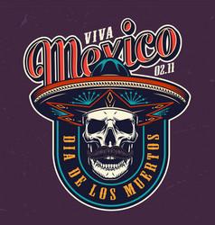 dia de los muertos colorful logo vector image