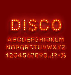 disco type font glowing light bulbs abc vector image