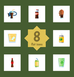 Flat icon soda set of beverage juice fizzy drink vector