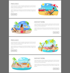 Freelance and distant work promotional banners set vector
