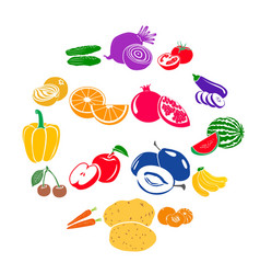 Fruits and vegetables set icons vector