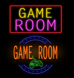 game room glowing neon sign vector image