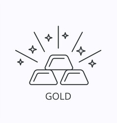 gold bar thin line icon wealth concept outline vector image