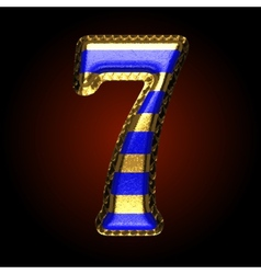 Golden and blue letter 7 vector