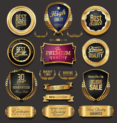 Golden retro sale badges and labels collection 9 vector