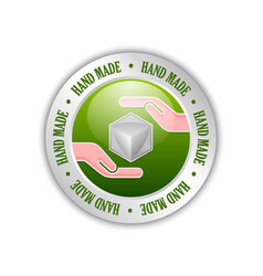 green and silver hand made sign on white vector image