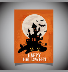 Halloween flier with spooky castle design vector