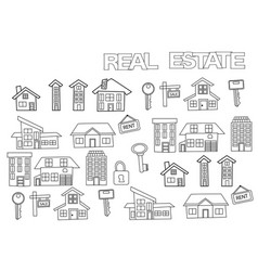 hand drawn real estate set coloring book page vector image