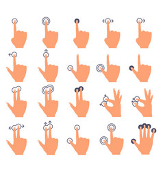hand touch screen touch swiping interface hands vector image