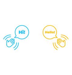 Hand wave or waving hi or hello gesture line art vector