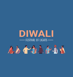 happy diwali indian people group wearing national vector image