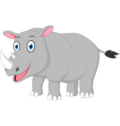 happy rhino cartoon vector image