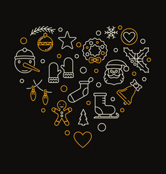 heart of xmas outline icons christmas vector image