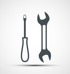 Icon of wrench and screwdriver vector