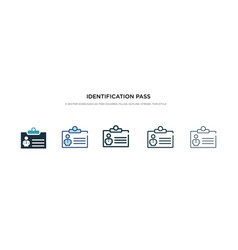 identification pass icon in different style two vector image