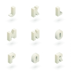 Isometric letters j to r vector