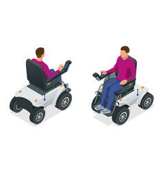Isometric man on an electric wheelchair new large vector