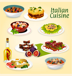 Italian cuisine dinner meals and desserts vector