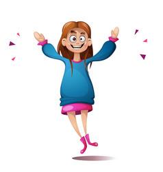 jump cartoon girl cute funny vector image