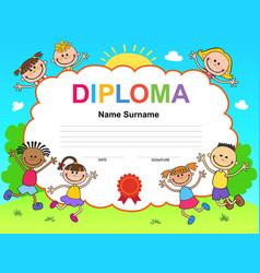 Kids diploma certificate background design vector