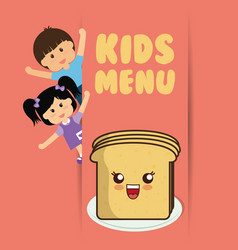 kids menu boy and girl slice bread vector image