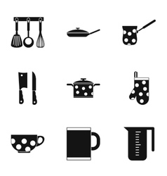 Kitchenware icons set simple style vector