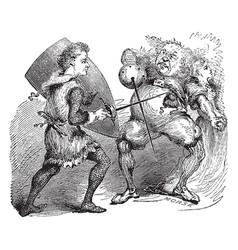 Knight battling troll vintage vector