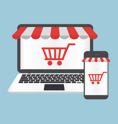 laptop and smartphone shop online concept vector image
