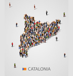 Large group of people in form of catalonia map vector