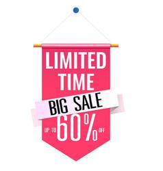 limited time big sale 60 pink flag background vec vector image