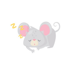 Little sleeping mouse adorable gray rodent with vector