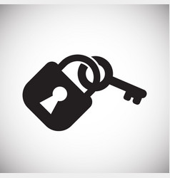 Lock with key on white background vector