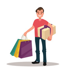 Man is shopping man holding bags and gift box vector