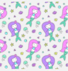 Mermaids seamless pattern vector