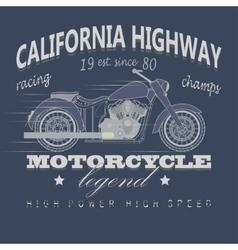 Motorcycle Racing Typography California Highway vector
