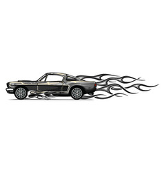 muscle car with flames crazy race vector image