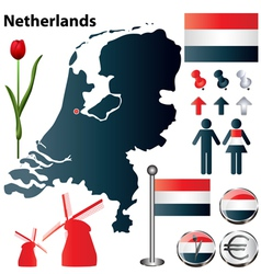 Netherlands map small vector