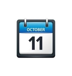 October 11 Calendar icon flat vector