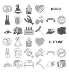 Oktober festival in munich monochrom icons in set vector