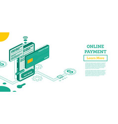 online outline payment with mobile phone vector image