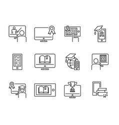 online training icon set vector image