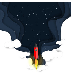 Outer space flight paper cut vector
