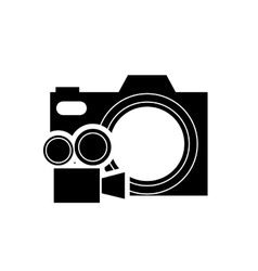 Photographic camera and film projector icon vector