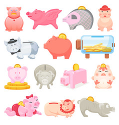 piggy bank money pig box financial bank or vector image