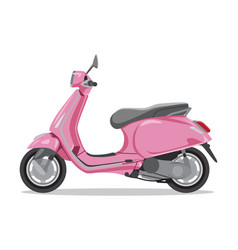 pink retro scooter flat style side view vector image